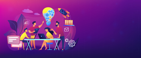 Business team brainstorm idea and lightbulb from jigsaw. Working team collaboration, enterprise cooperation, colleagues mutual assistance concept. Header or footer banner template with copy space. Illustration