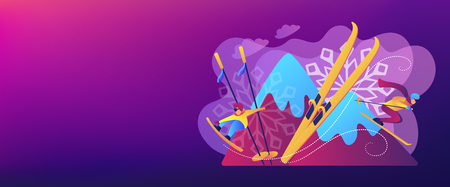 Skier and snowboarder sliding downhill in mountains. Winter extreme sports, downhill cross-country skiing, snowboarding freeride concept. Header or footer banner template with copy space. Illustration