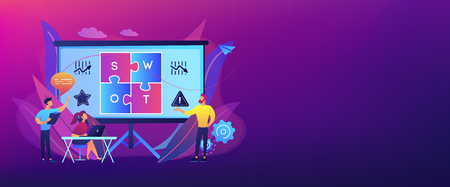 Équipe d'analyse SWOT travaillant sur la liste de vos opportunités, l'élaboration de stratégies et le suivi. Analyse et matrice SWOT, concept de planification stratégique. Modèle de bannière d'en-tête ou de pied de page avec espace de copie. Vecteurs