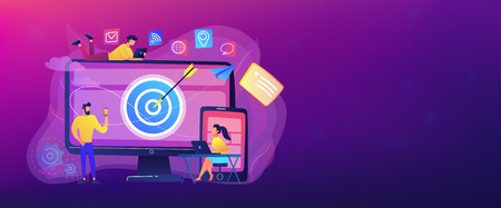 Concumers with devices get targeted ads and messages. Multi device targeting, reaching audience, cross-device marketing concept on white background. Header or footer banner template with copy space.