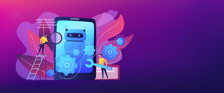 Developers with wrench work on chatbot application development. Chatbot app development, bot development framework, chatbot programming concept. Header or footer banner template with copy space.