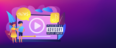 Children at laptop listening to music with parental advisory label warning. Parental advisory, explicit content, kids warning label concept. Header or footer banner template with copy space. 일러스트