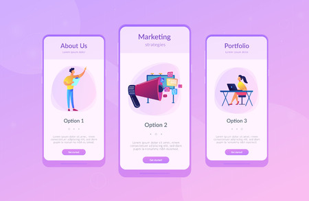 Marketing team work and huge megaphone with media icons. Marketing and branding, billboard and ad, marketing strategies concept on white background. Mobile UI UX GUI template, app interface wireframe