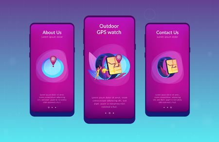 Users looking at smartwatch with GPS navigation pin. Smartwatch navigation, outdoor GPS watch and smart GPS tracker concept on white background. Mobile UI UX GUI template, app interface wireframe