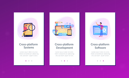 Engineer and developer with laptop and tablet code. Cross-platform development, cross-platform operating systems and software environments concept. Mobile UI UX GUI template, app interface wireframe Vector Illustration