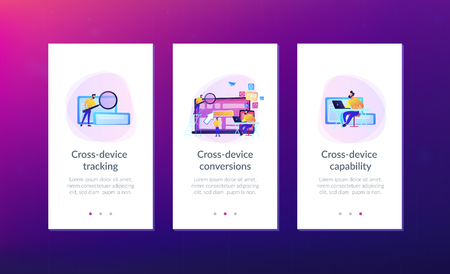 IT specialist identify user across mobile, laptop and tablet. Cross-device tracking and capability, cross-device using concept on white background. Mobile UI UX GUI template, app interface wireframe Illusztráció
