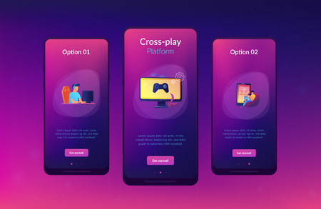Gamers play video game on different hardware platforms. Cross-platform play, cross-play and cross-platform gaming concept on white background. Mobile UI UX GUI template, app interface wireframe