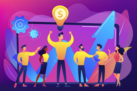 Company enployees and leader having successful money-making idea. Intellectual capital, company human resources, money-making sources concept. Bright vibrant violet vector isolated illustration Stock Illustratie