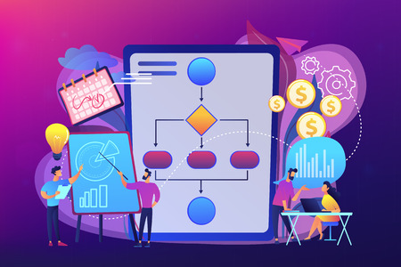 Businessmen work with improvement diagrams and charts. Business process management, business process visualization, IT business analysis concept. Bright vibrant violet vector isolated illustration