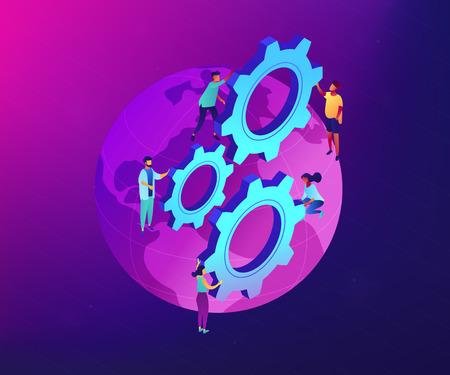 Squadra internazionale di uomini d'affari che girano gli ingranaggi sul globo. Affari internazionali, collaborazione aziendale globale, concetto di lavoro di squadra internazionale. Illustrazione isometrica 3D di vettore al neon ultravioletto. Vettoriali