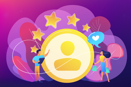 Marketer measuring customer satisfaction and rating stars. Satisfaction and loyalty analysis, customer retention increasing, marketing tools concept. Bright vibrant violet vector isolated illustration