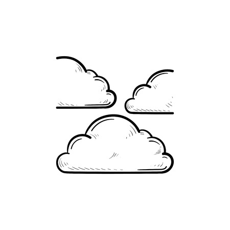 Cloud in the sky hand drawn outline doodle icon. Meteorology and weather forecast, cloudy concept. Vector sketch illustration for print, web, mobile and infographics on white background.