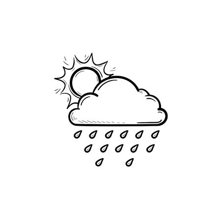 Sun with raincloud and raindrops hand drawn outline doodle icon. Raining and cloudy sky, weather concept. Vector sketch illustration for print, web, mobile and infographics on white background.