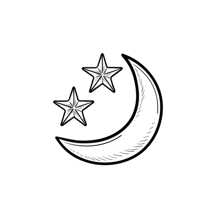 Crescent or new moon with stars hand drawn outline doodle icon. Night and time for sleep, astronomy concept. Vector sketch illustration for print, web, mobile and infographics on white background.