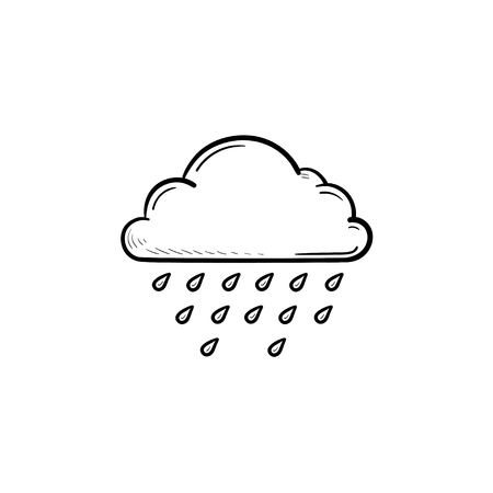 Cloud rain drops hand drawn outline doodle icon. Meteorology, weather forecast, climate and sky concept. Vector sketch illustration for print, web, mobile and infographics on white background.