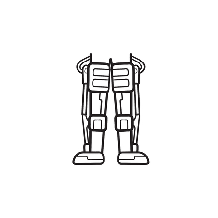 Mechanical robot legs of android hand drawn outline doodle icon. Biotechnology futuristic medicine concept. Vector sketch illustration for print, web, mobile and infographics on white background. 일러스트