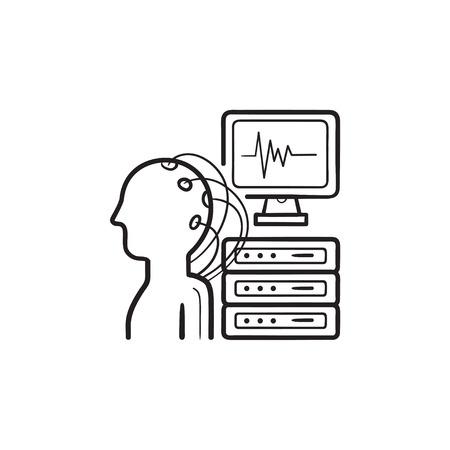 Gehirnanalyse handgezeichnete Umriss-Doodle-Symbol. Elektroenzephalographie, Gehirnsignaldiagnosekonzept. Vektorskizzenillustration für Print, Web, Mobile und Infografiken auf weißem Hintergrund. Vektorgrafik