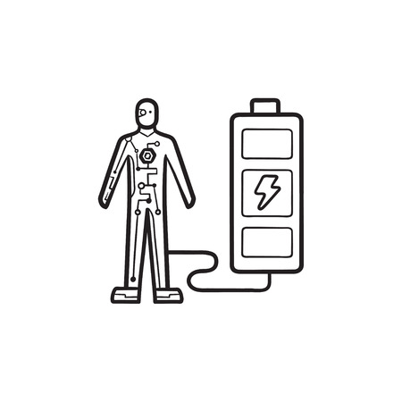 Android charges from battery hand drawn outline doodle icon. Advance cybernetic, human power technology concept. Vector sketch illustration for print, web, mobile and infographics on white background. Иллюстрация