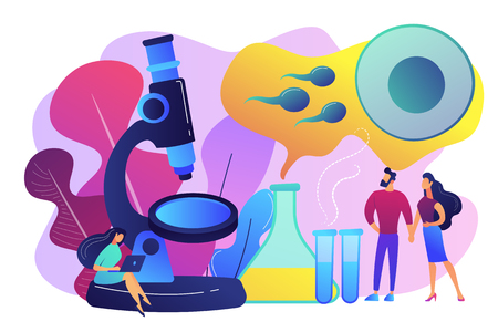 Scientist on microscope working on infertility treatment for couple. Infertility, female infertility causes, sterility medical treatment concept. Bright vibrant violet vector isolated illustration Illustration