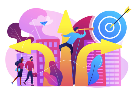Business people and empolyee choosing new career direction arrow with target. Career change, alternative career, retraining for a new job concept. Bright vibrant violet vector isolated illustration Illustration