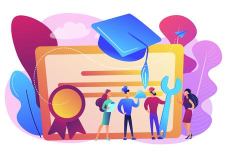 Especialistas vocacionales graduados y diplomados con gorra de graduación. Educación vocacional, aprendizaje profesional, concepto de educación vocacional en línea. Ilustración aislada de vector violeta vibrante brillante