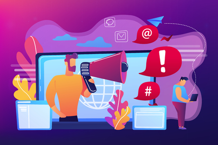 Target individual with laptop attacked online by user with megaphone. Internet shaming, online harassment, cyber crime action concept. Bright vibrant violet vector isolated illustration