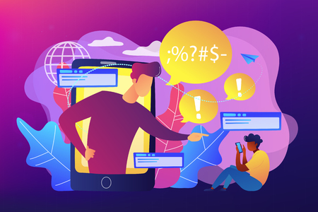 Bully in smartphone harassing, threatening and intimidating upset victim online. Cyberbullying, online flooding, social network harassment concept. Bright vibrant violet vector isolated illustration Illustration