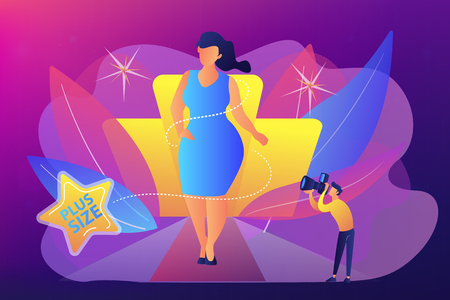 Photographer taking photos of plus size model in runway fashion show. Plus size models, body positive fashion, plus-size clothing modeling concept. Bright vibrant violet vector isolated illustration Çizim