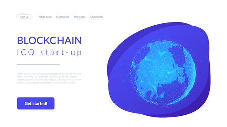 Blockchain technology futuristic landing page hero image with world globe and blockchain polygon peer to peer network. Global cryptocurrency fintech business banner concept. Low poly vector design. Illustration