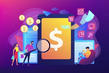 Clients with magnifier get e-invoicing and pay bills online. E-invoicing service, electronic invoicing, e-billing system and e-economy tools concept. Bright vibrant violet vector isolated illustration Vector Illustration