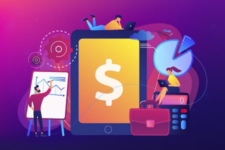 Accountants work with financial transactions software and tablet. Enterprise accounting, IT accounting system, smart enterprise tools concept. Bright vibrant violet vector isolated illustration Vector Illustration