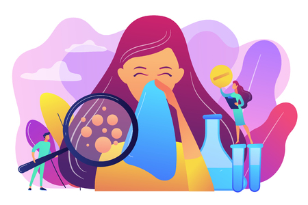 Female patient sneezing, taking a pill from doctor and allergen under magnifier. Allergic diseases, allergy reaction, antihistamines therapy concept. Bright vibrant violet vector isolated illustration