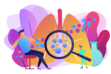 Male patient with anaphylactic symptoms and doctor with magnifier. Anaphylaxis, anaphylaxis shock treatment, allergic reaction help concept. Bright vibrant violet vector isolated illustration