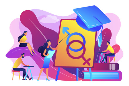 Female teacher at board giving a lesson on education to students. Sex education, health teaching, education lesson concept. Bright vibrant violet vector isolated illustration