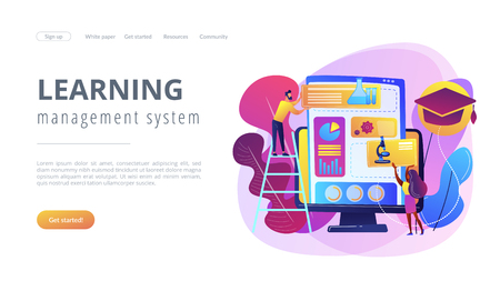 Educational courses management software on computer screen. Learning management system, educational technology, online learning delivery concept. Website vibrant violet landing web page template. Illustration