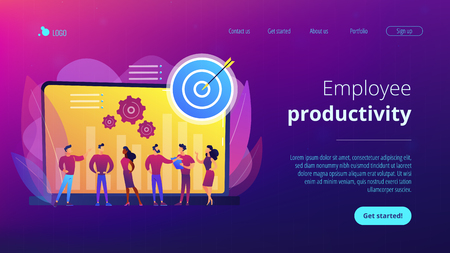 Employees get organizational goals and feedback. Performance management, management software, employee productivity and performance tracking concept. Website vibrant violet landing web page template. Illustration