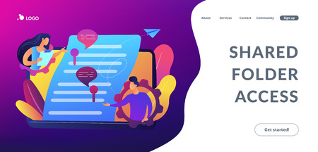 Business team editing shared document on laptop online. Shared document, shared folder access, collaborative document editing concept. Website vibrant violet landing web page template.