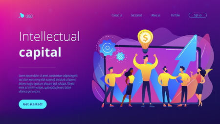 Company enployees and leader having successful money-making idea. Intellectual capital, company human resources, money-making sources concept. Website vibrant violet landing web page template.