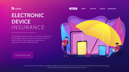 Businessmen using electronic equipment under umbrella protection. Electronic device insurance, phone insurance policy, new insurance trend concept. Website vibrant violet landing web page template.