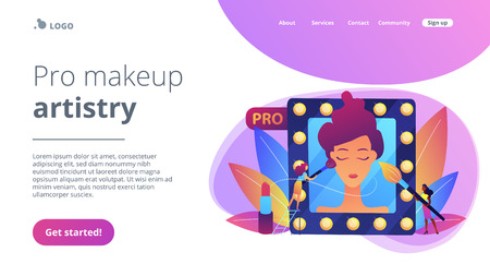 Professional makeup artists applying make up with brush on woman face in mirror. Professional makeup, pro artistry, makeup artist work concept. Website vibrant violet landing web page template.