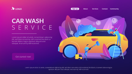 Car wash employees washing the exterior of the car with equipment and foam. Car wash service, vehicle cleaning market, carwash self-serve concept. Website vibrant violet landing web page template.