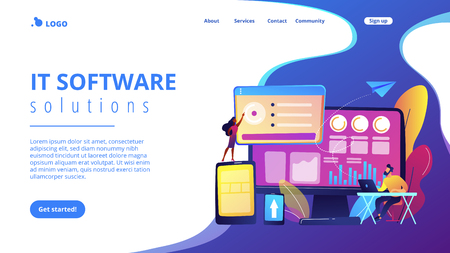 IT managers integrate technologies into business operations. Enterprise IT management, IT software solutions, enterprise architecture concept. Website vibrant violet landing web page template. Vetores