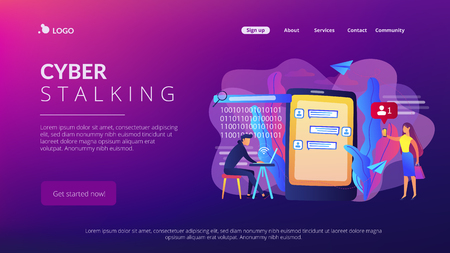 Stalker with laptop controls and intimidates the victim with messages. Cyberstalking, pursuit of social identity, online false accusations concept. Website vibrant violet landing web page template.