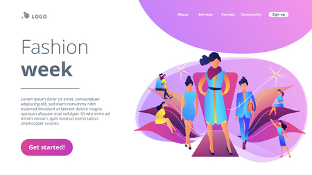 Designers display latest collection in runway fashion show to buyers and media. Fashion week, fashion industry event, runway fashion show concept. Website vibrant violet landing web page template.