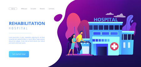 Therapist working with patient at rehabilitation center. Rehabilitation center, rehabilitation hospital, stabilization of medical conditions concept. Website vibrant violet landing web page template.