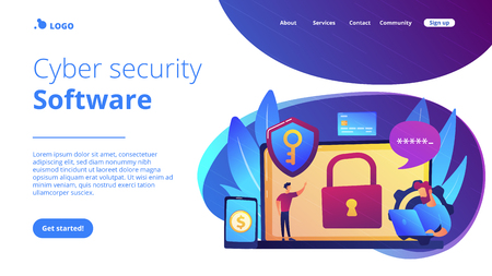 Developers work on cyber security program. Cyber security software, information security program and antivirus concept on white background. Website vibrant violet landing web page template.