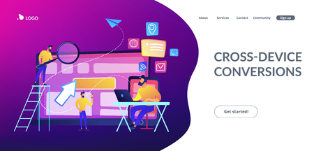 IT specialist identify user across mobile, laptop and tablet. Cross-device tracking and capability, cross-device using concept on white background. Website vibrant violet landing web page template. Vektoros illusztráció