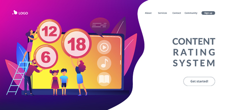 Adults rating content for children with age restriction signs. Content rating system, age limitation content, censorship classification concept. Website vibrant violet landing web page template. Иллюстрация