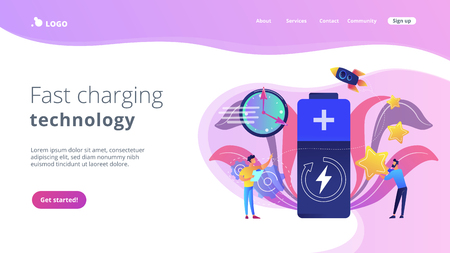 Engineers with battery charging and stars with rocket. Fast charging technology, fast-charge batteries, new battery engineering concept. Website vibrant violet landing web page template. 向量圖像