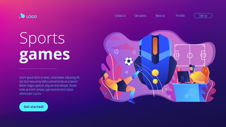Gamer with headset at computer taking part in online footbal tournament. Sports games, online footbal tournament, e-game championship concept. Website vibrant violet landing web page template.